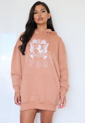 Missguided Tall Camel Sport Oversized Graphic Sweater Dress