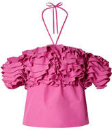 Rosie Assoulin Cha Cha Off-the-shoulder Ruffled Taffeta Top - Fuchsia