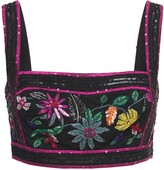 Thumbnail for your product : ZUHAIR MURAD Embellished Passiflora Crop Top