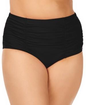 Raisins Curve Trendy Plus Size Ruched Costa Tummy Control High-Waist Bikini Bottoms Women's Swimsuit