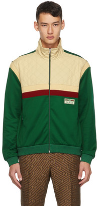 Gucci Beige and Green Jersey Track Jacket