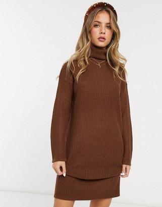 Brave Soul emilina roll neck fisherman knit jumper dress in brown