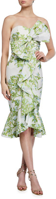 Mestiza New York Stephanie Floral Strapless Midi Bow Dress