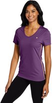 Champion Women's Vapor V-Neck Tee, Forging Green/Windchill Blue