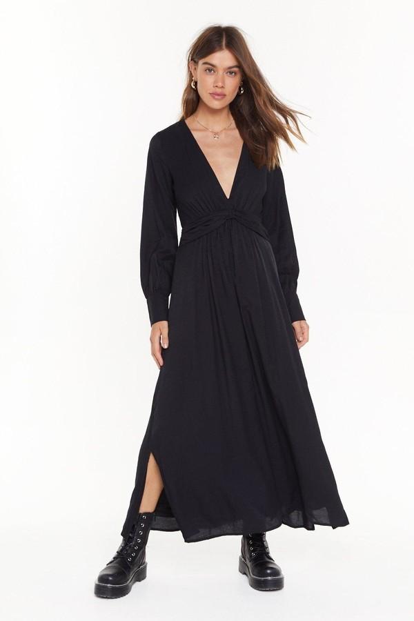 Nasty Gal Womens V Right Back Plunging Miaxi Dress - Black - 8