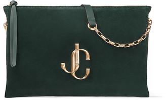 Jimmy Choo VARENNE SHOULDER/S Dark Green Suede Shoulder Bag with JC Logo