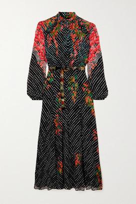 Saloni Jacqui B Belted Printed Silk-georgette Midi Dress - Navy