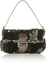 Fendi Baguette Paillette and Bead-Embellished Silk Shoulder Bag