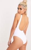 PrettyLittleThing Natalia White Basic Plunge Swimsuit