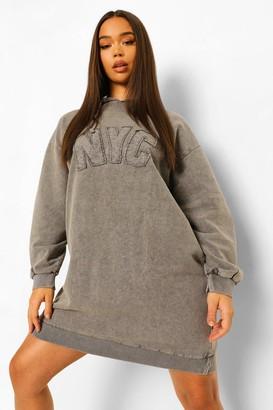 boohoo Nyc Acid Wash Hoodie Dress