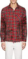 NSF Men's Distressed Plaid Cotton Shirt