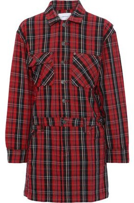 Current/Elliott Checked Cotton-blend Mini Shirt Dress