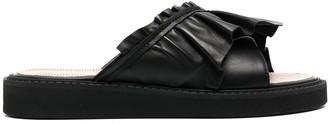 Red(V) Ruched Slip-On Sandals