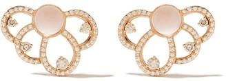 Brumani 18kt rose gold Laces diamond and quartz stud earrings
