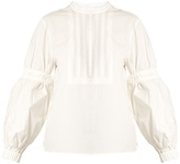 Tibi Ruched-sleeve cotton-poplin top