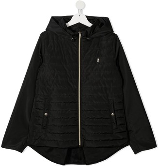 Herno TEEN quilted panel hooded jacket