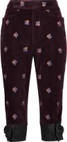 Maison Margiela Cropped embroidered velvet straight-leg pants