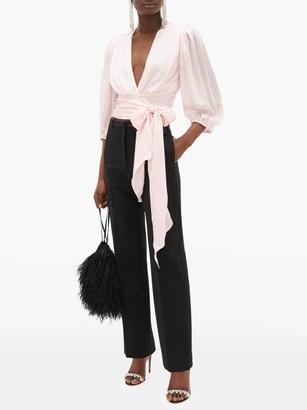Alexandre Vauthier V-neck Silk-charmeuse Wrap Blouse - Womens - Light Pink