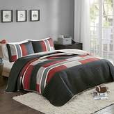 Bedspreads Queen Size Mini Quilt Set - Casual Pierre 3 Piece Kids Lightweight Filling Bedding Cover - Black / Red Patchwork Print - All Season Hypoallergenic - Fits Full/Queen - Comfort Spaces