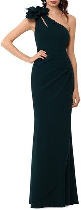 Xscape Evenings Applique One-Shoulder Trumpet Gown