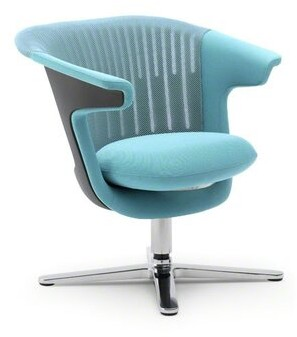 Steelcase i2i Leather Guest Chair Metal Back Finish: 3D Knit - Maya Blue, Arm / Seat Finish: Connect - Maya Blue, Frame Color: Near Black, Casters/Gli