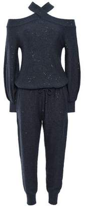 Brunello Cucinelli Cold-shoulder Embellished Cashmere And Silk-blend Jumpsuit