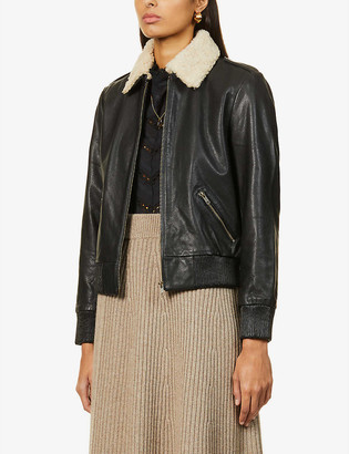 Sessun Meeley leather and shearling aviator jacket