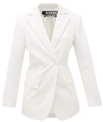 Jacquemus Asymmetric Double-breasted Hopsack Jacket - Womens - Ivory