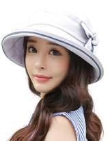 Siggi Ladies SPF50+ Linen Cotton Summer Sun Bucket Packable Foldable Wide Brim Hats with Chin Cord Bow Accent Gray