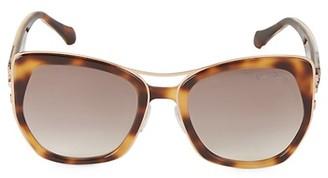 Roberto Cavalli 55MM Faux Tortoiseshell Square Sunglasses
