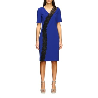 Boutique Moschino Dress Stretch Cady Sheath Dress With Macramé Insert