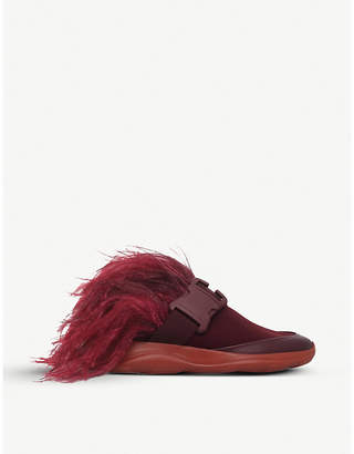 Christopher Kane Feather safety-buckle slide trainers