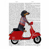 Asstd National Brand Dachshund on a MopedCanvas Wall Art