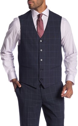 Savile Row Co Cheshire Windowpane Modern Fit Suit Separate Vest