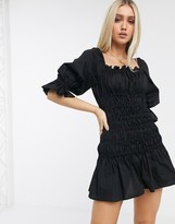 Asos Design DESIGN cotton poplin shirred mini dress with lace up back in black