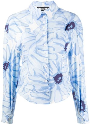 Jacquemus Jean floral-print cut-out shirt