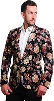 MOGU Mens 1 Button Floral Cotton Blazer Sport Coat Jacket US size 44(Tag Asian Size 5XL)