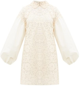 Valentino Balloon-sleeve Lace Mini Dress - Ivory
