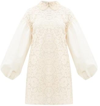 Valentino Balloon-sleeve Lace Mini Dress - Womens - Ivory