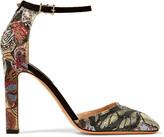 Valentino Crystal-embellished suede pumps