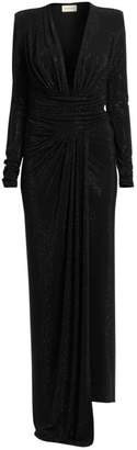 Alexandre Vauthier Microcrystal Plunging Long-Sleeve Gown