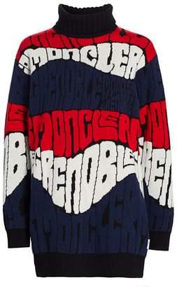 Moncler Wave Jacquard Logo Virgin Wool & Cashmere Turtleneck Sweater