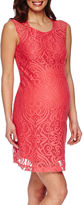 Asstd National Brand Maternity Cap-Sleeve Allover Medallion Lace Dress