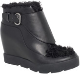 Max Studio Zander Leather And Shearling Wedged Booties