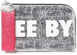 See by Chloe Joris Logo-print Metallic Faux Cracked-leather Pouch