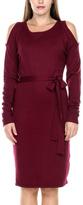 Stanzino Burgundy Open-Shoulder Sheath Dress