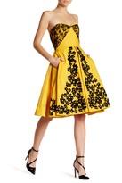 Oscar de la Renta Strapless Lace Embellished Floral Dress