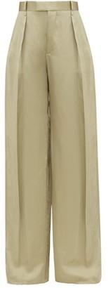 Bottega Veneta High-rise Wide-leg Satin-faille Trousers - Light Green