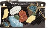 The Row Party Hour 7 Embellished Python Shoulder Bag - Black