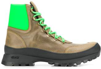 Mr & Mrs Italy neon green panelled boots